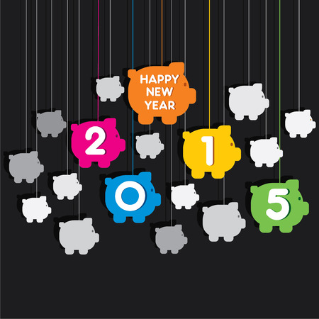creative new year 2015 piggy bank theme background vector Vector