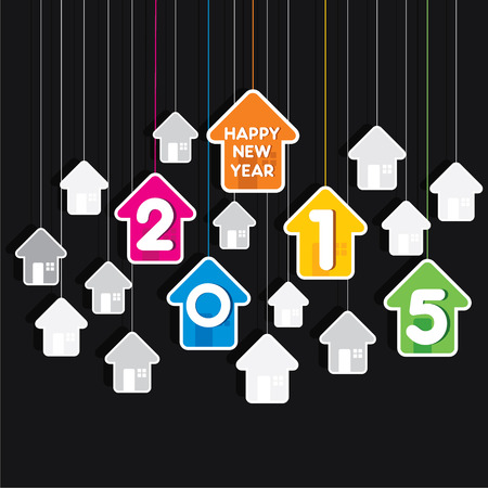 creative colorful new year 2015 greeting design with home theme vector Illustration