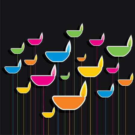 diyas: colorful diya pattern bakground vector