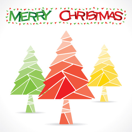 colorful merry christmas tree design vector Vector