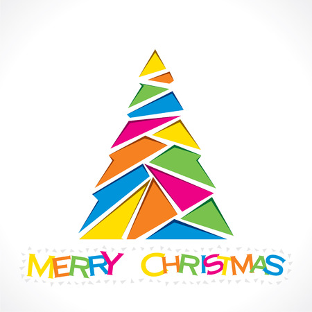 creative merry Christmas tree design with triangle vector Vector