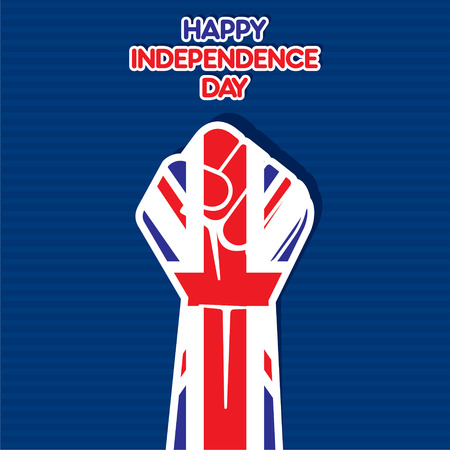 Flag of united kingdom in hand , happy Independence Day design vector Vector