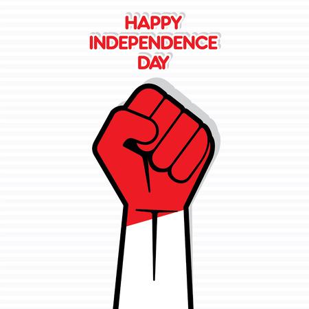 ハッピー独立記念日、手でインドネシアの旗設計ベクトル