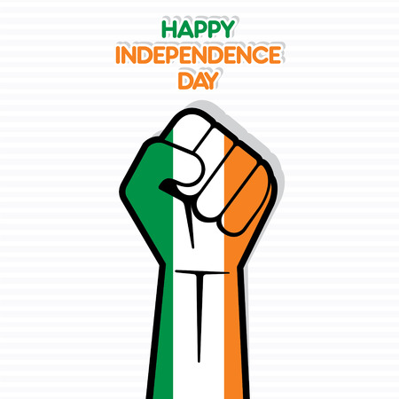 ireland flag: happy independence day of Ireland  flag in hand vector Illustration