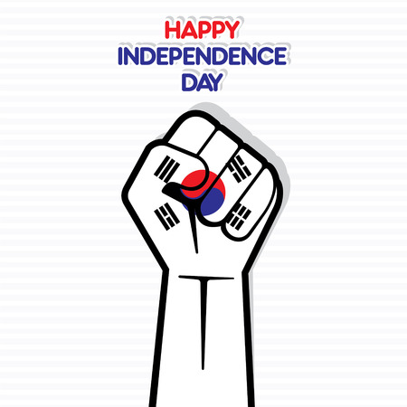 happy independence day of south Korea flag hand design vector Vector