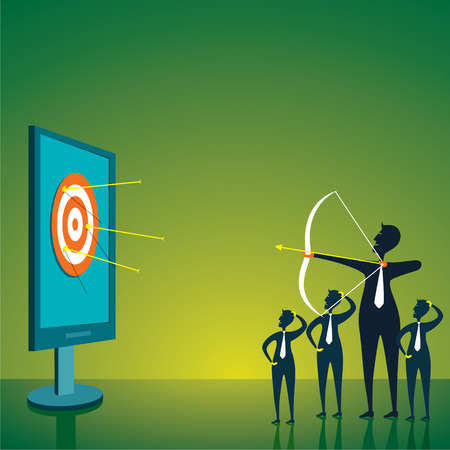men trying to hit the target or focuc on aim concept vector Vector