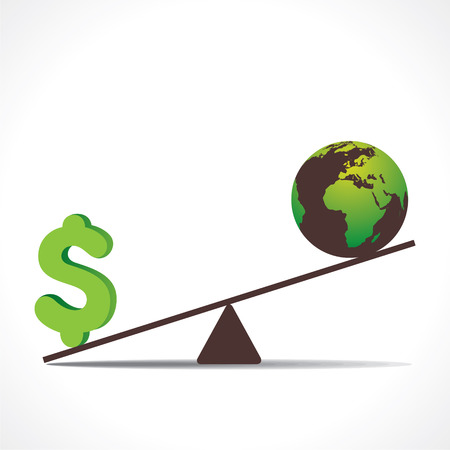 honesty: dollar or earth on weighing concept