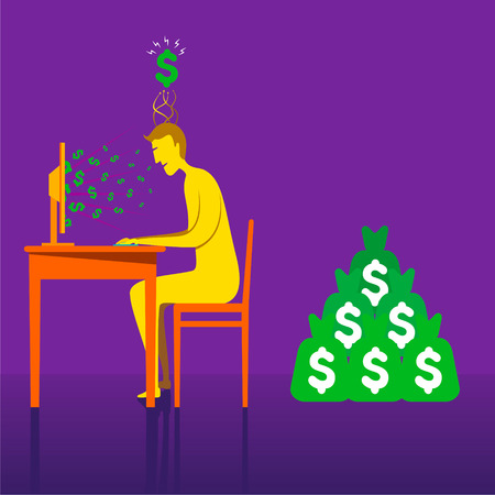 earning: big money earning through on-line business concept vector