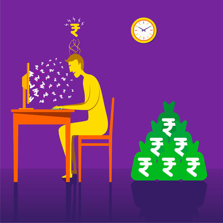 earning: on-line earning rupee or money with online business concept vector