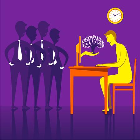 indian professional: On-line earning money or dollar tree design concept vector Illustration