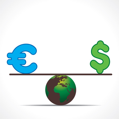 value system: compare euro and dollar currency symbol design concept vector