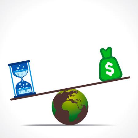 apalancamiento: moneda del dólar y el reloj de arena que pesa sobre el concepto de vectores tierra