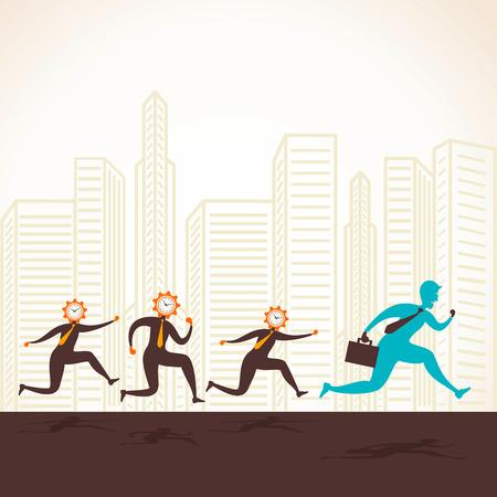 follow the leader: clock head men follow the leader concept vector