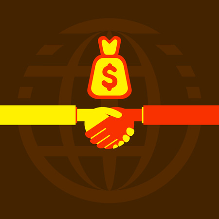 business deal: businessmen handshake with business deal or money concept vector