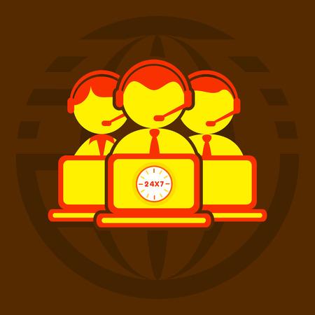 callcenter: global technical support for customer 247 concept design icon Illustration