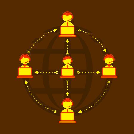 globally: Social Media or Network, technical support globally concept design Vector Illustration