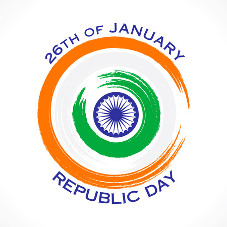 26 january: happy republic day or 26 January greeting design vector