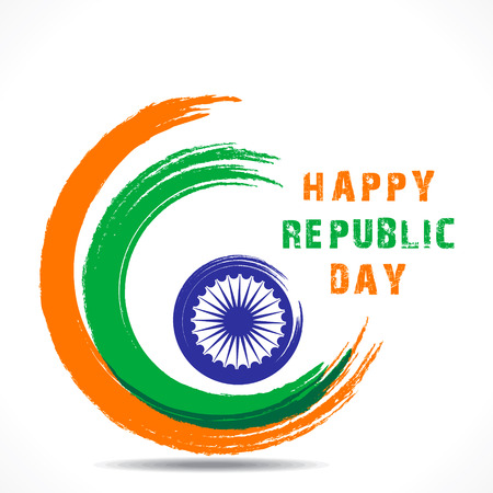 ashok: happy republic day greeting design vector