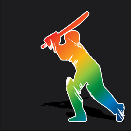 cricketer: creative abstract cricket player design by brush stroke vector
