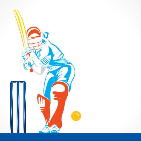 カラフルなクリケット選手は大きなボールを打つ、デザインのベクトルをスケッチ
