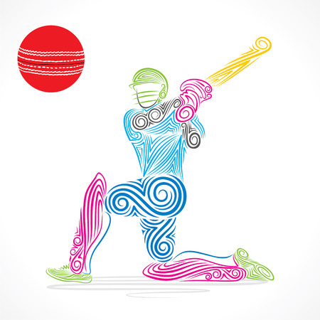 cricket ball: colorful cricket player hit the big ball , sketch design vector