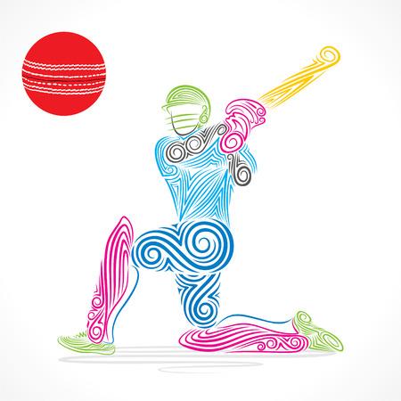 batsman: colorful cricket player hit the big ball , sketch design vector
