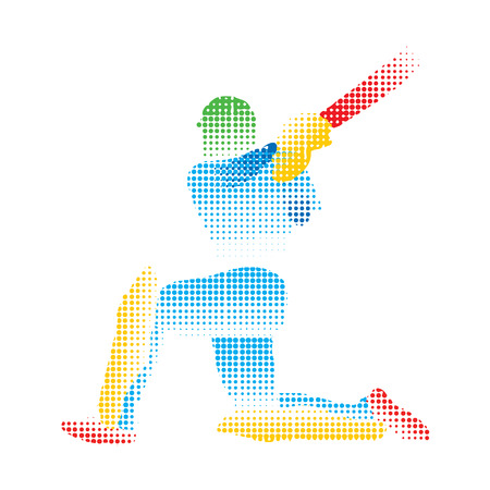 batsman: creative abstract cricket player design by halftone vector