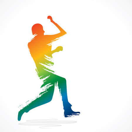 bowling the cricket player design by brush stroke vector Vector