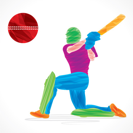 colorful cricket player hit the big ball , sketch design vector Vector