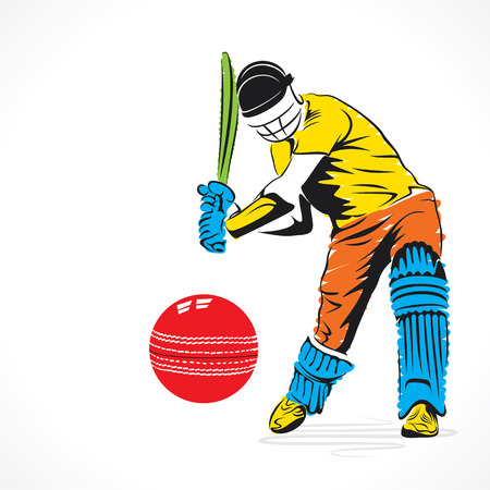 cricketer: colorful cricket player hit the big ball , sketch design vector