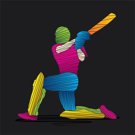 creative abstract cricket player design by brush stroke vector Vector