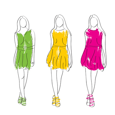 abstract fashion lady sketch or design vector Vector