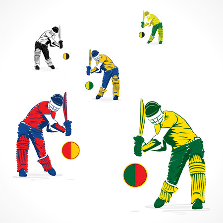 wicket: player ready to hit the ball banner design vector Illustration