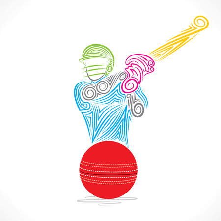 cricket: batsmen hit the ball banner design vector