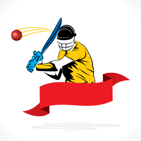 cricket player hit ball banner design vector