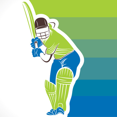 creative cricket player banner design vector Illustration