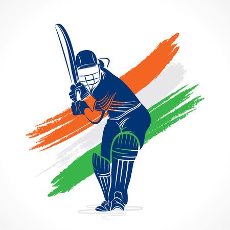 ブラシ ストローク ベクターで抽象的なクリケット選手デザイン
