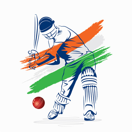 crickets: abstract cricket player hi the ball design by brush stroke vector
