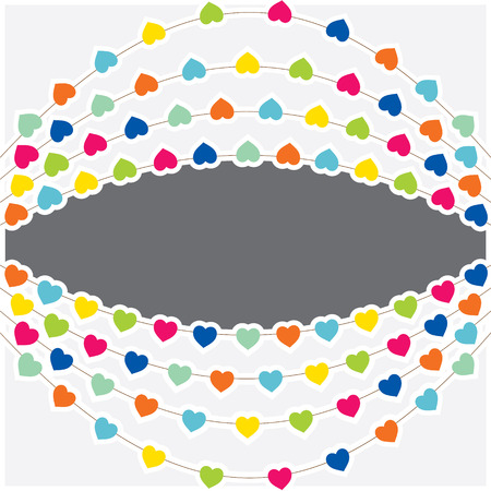 colorful heart: colorful heart shape flag with confetti design vector