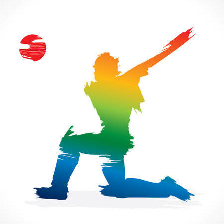 cricket ball: batsmen hit the ball design vector Illustration