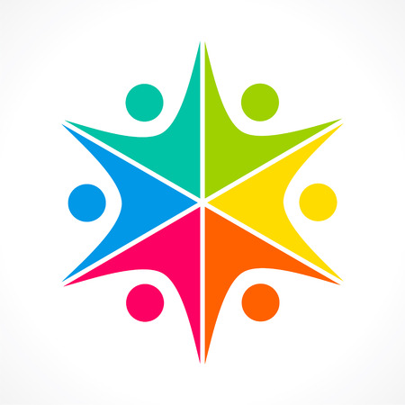 teamwork concept: creative colorful teamwork icon design concept vector