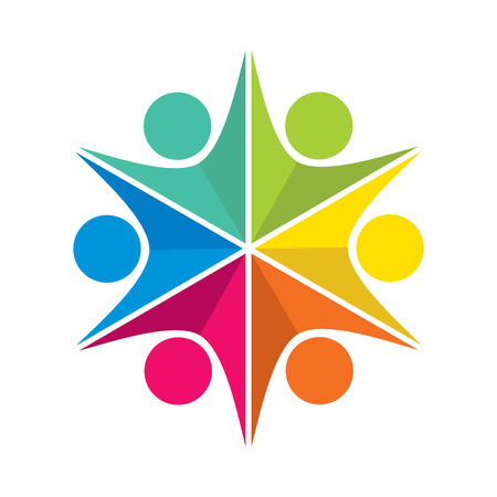 community help: colorful people teamwork icon design concept vector Illustration