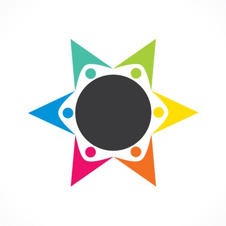 creative colorful teamwork icon design vector Vector