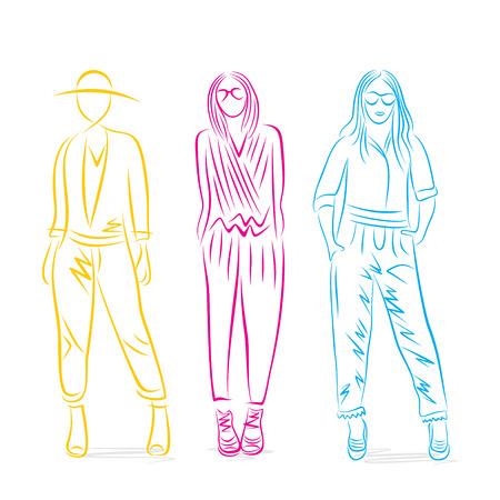 mannequin mode: pose �l�gante sur le mod�le de la mode vecteur de conception Illustration