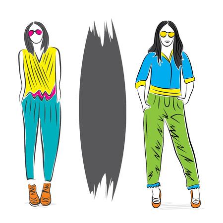 mannequin mode: mod�le de fa�on abstraite sur le vecteur de conception de pose �l�gante Illustration
