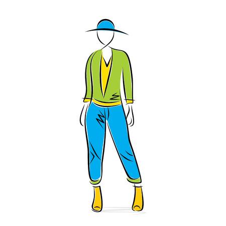 model posing: sketch fashion model posing design vector