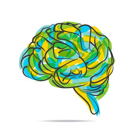 thinking brain: abstract brush stroke by brain design vector