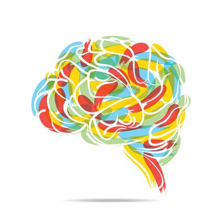 抽象的な塗られた脳デザイン ベクトル