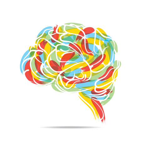 abstract painted brain design vector