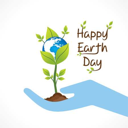 mundo manos: diseño día de la tierra feliz, asimiento planta en la mano de diseño vectorial